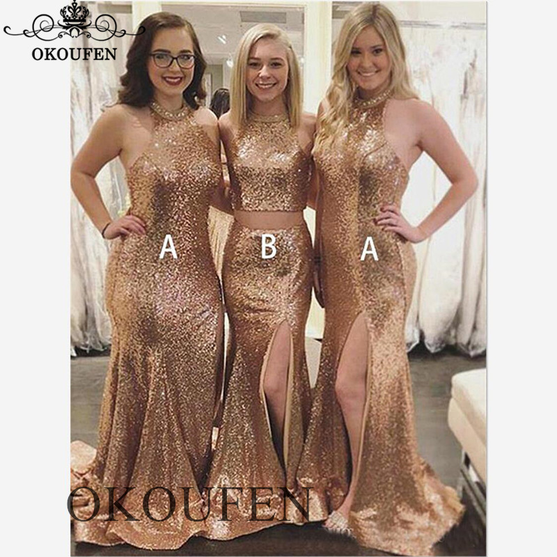 Bling Sequined Two Pieces   Bridesmaid     Dresses   For Women 2019 Side Split Mermaid Long Party   Dress   Maid Of Honor Formal Gown