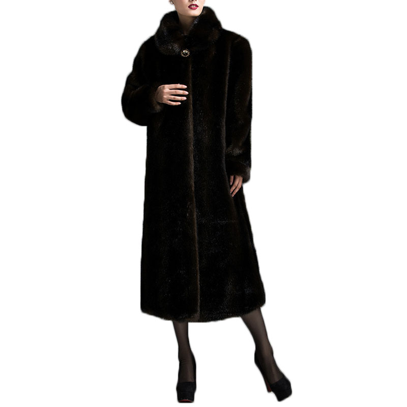 Faux fur coat female winter Mother loaded plus size imitation mink ultra long overcoat winter fur coat Thickened warm jacket