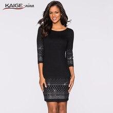 4c55c8431 Vestidos de mujer Kaige. Nina estilo de Color puro 7 minutos de manga con  lentejuelas decoración recta hasta la rodilla vestido .