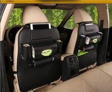 Dongzhen 1PCS  Back Seat Leather Storage Bag Car Organizer Drink Holder Tissue Box for Car Phone Pocket Bag