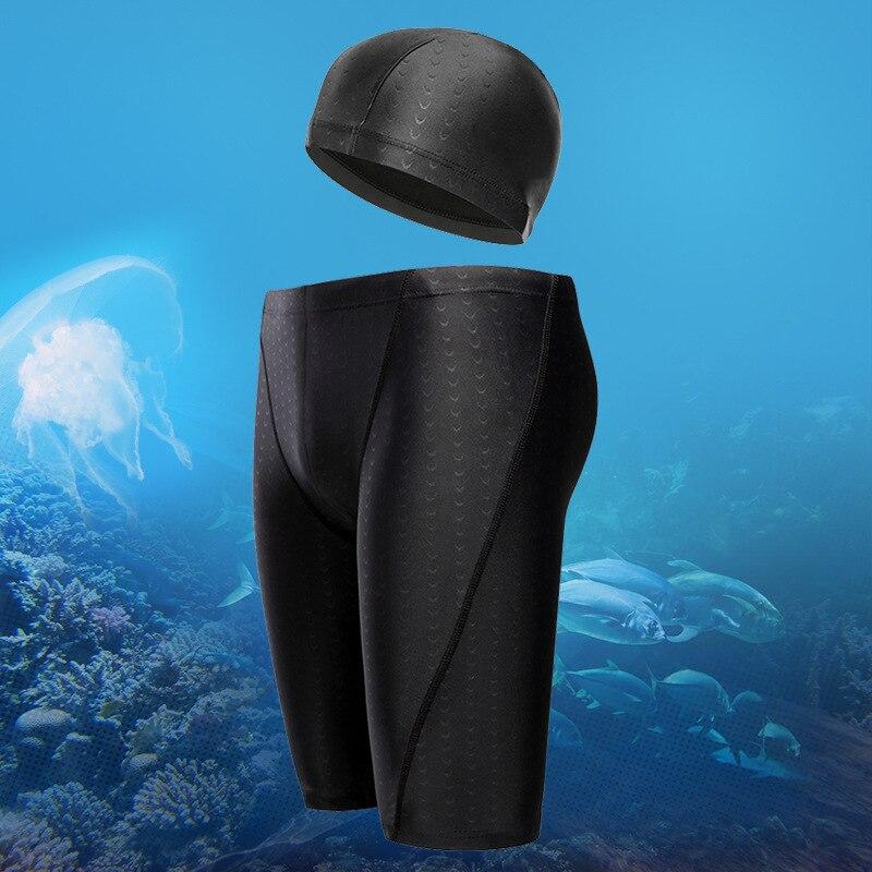 Swimming Trunks Shark-Skin Competitive Pant Bathing-Cap Professional Racing Men AA1108