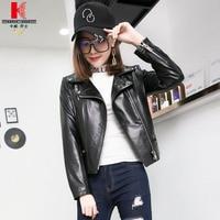 Leather Motorcycle Jacket Full Length Nice Black Styles Sportswear Casual Plus Size Sheepskin Short Windbreaker Fall Coat Ladie