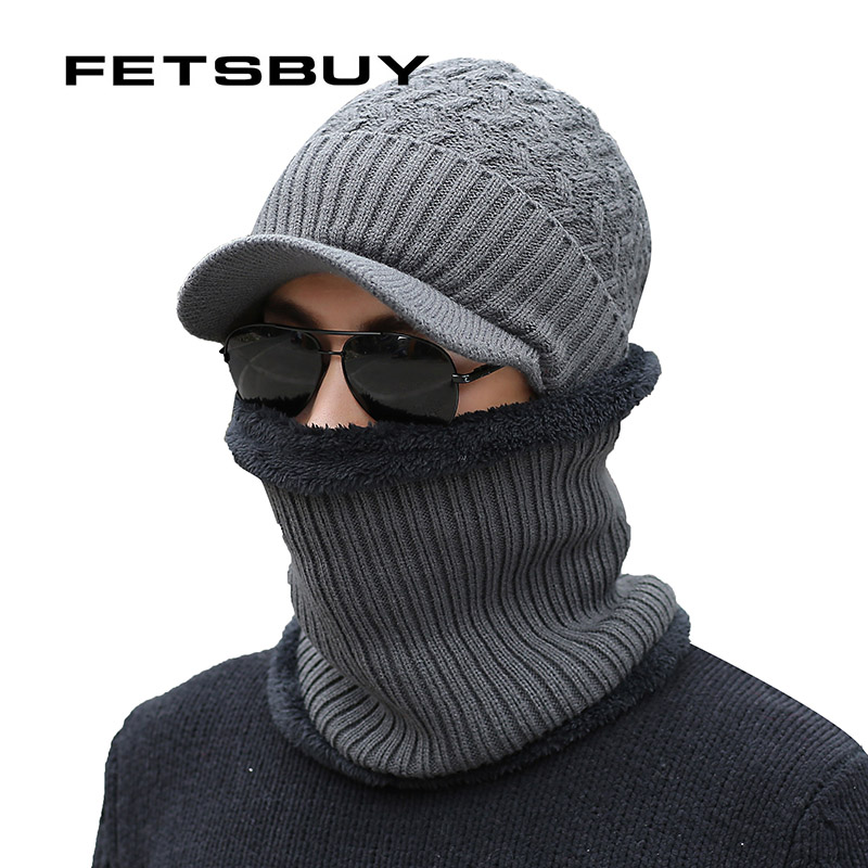 [FETSBUY] Brand Winter Hat Knitted Hats Men Women Scarf Caps Mask Gorras Bonnet Warm Winter   Beanies   For Men   Skullies     Beanies   Hat
