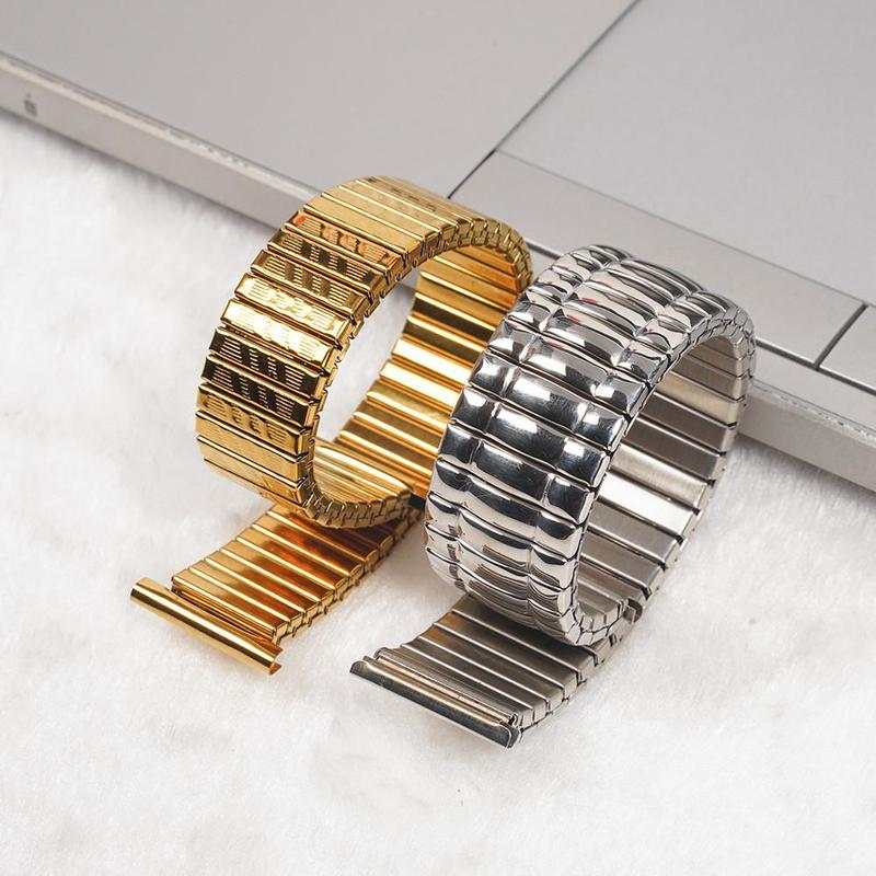10/12/14/16/18/20MM Stainless Steel Stretch Expansion Parts Watch Band Strap Silver Gold Metal Color Watch Bracelets Accessories