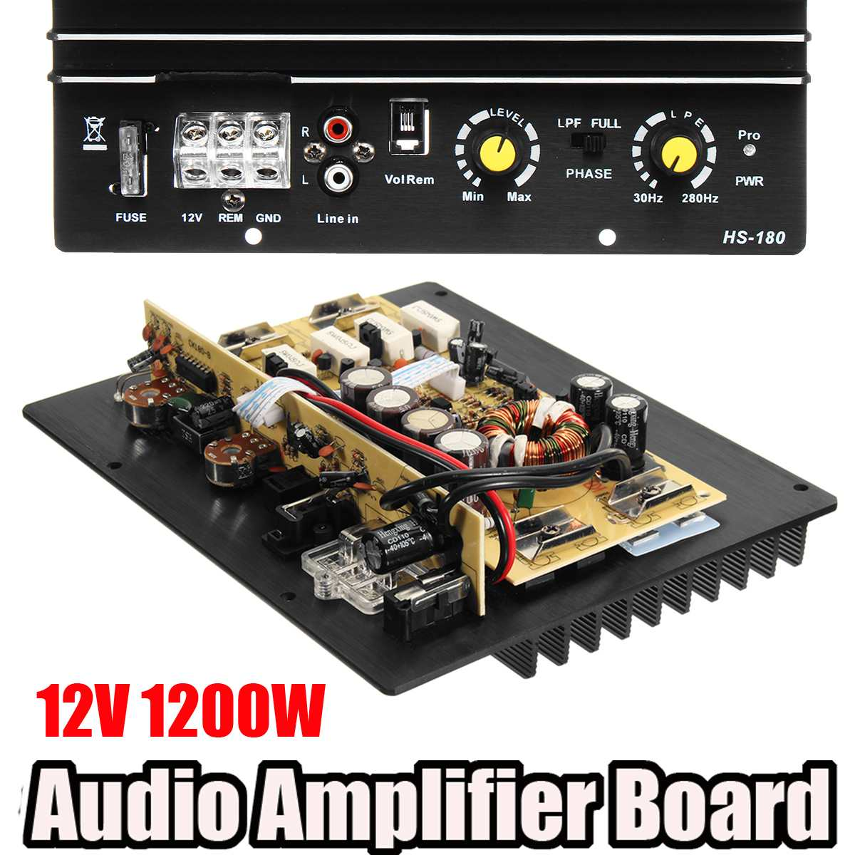 New 12V 1200W 100A Car Audio Powers Amplifier Subwoofer Powerful Bass Car Amplifier Board DIY Amp Board for Auto Car Player