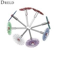 DRELD 10 Pcs Dremel אביזרי שוחקים מברשת רדיאלי זיפי ליטוש מרוט גלגל מעורב חצץ + 2 pcs Mandrel עבור רוטרי כלים