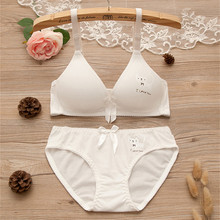 Girl Bra Set sweet Thin Cup Young Cotton Wireless Comfortable development period students Underwear Teenage white