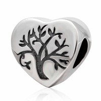 925 Sterling Silver Heart Beads Life Tree Charms Fit Original Pandora Charms Bracelet DIY Jewelry Making