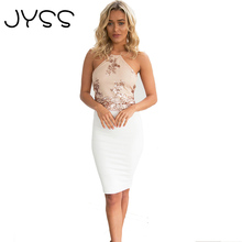 2017 New arrival JYSS Hot Women sexy lace crop top Backless halterneck tops floral pattern bandage summer tops 80812