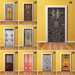 Decoración del hogar DIY puerta PVC impermeable impresión 3D patrón clásico ambiental pegatina de protección autoadhesiva arte papel dormitorio