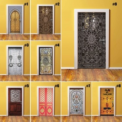 Home Decor DIY Door PVC Waterproof 3D Print Environmental Classical Pattern Protection Sticker Self Adhesive Art Paper Bedroom