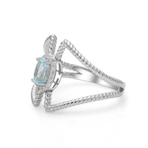 Image 2 - 宝石のバレエ 0.6Ct オーバル天然スカイブルートパーズ宝石女性のための指輪 925 スターリングシルバーファッションファインブレスレットジュエリー