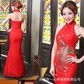 Chinese Traditional Dress 2015 Fashion Wedding Qipao Red Lace Halter Neck Bride Long Cheongsam Phoenix Trailing Qi Pao