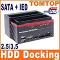 """Tudo Em 1 HDD Docking Station HDD Caixa Externa 2.5 """"3.5"""" IDE Dois SATA USB2.0 Leitor de Cartão De Gabinete De Armazenamento Externo para Computador"""