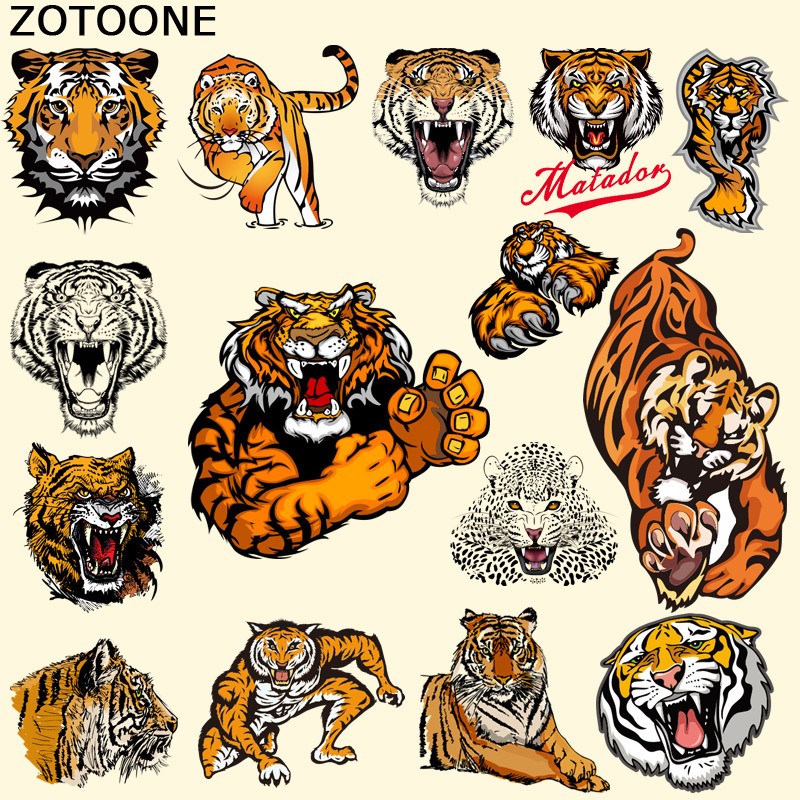 ZOTOONE Pyrography Heat Transfer Personality Variety Tiger Iron on Animal Patches DIY Clothes T shirt Brand Logo Patch Applied D in Patches from Home Garden