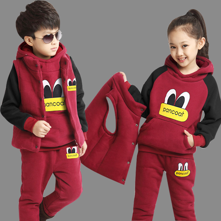 Danmoke Winter Kids Clothing Sets Baby Boys Girls Cartoon Cotton Set Winter Children Clothes Child T-Shirt+Pants +Vest Suit 2018 children boys girls clothing suits autumn winter baby hooded vest t shirt pants 3pcs sets cartoon kids clothes tracksuits