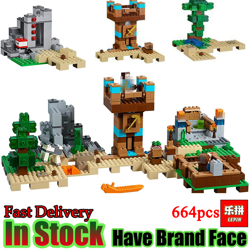 Lepin 18030 Minecraft 664pcs Peak Cave Farm Assemble My world Building Bricks Blocks anime action Figures Toys for children lepin minecraft 504pcs the forest secret my world figures building blocks bricks fun castle house toys for children gifts
