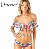 Detector Sexy Off Shoulder Ruffled Bandeau Thong Biquini Strappy Swimsuit Swim Wear Bathing Suit Swimwear Women