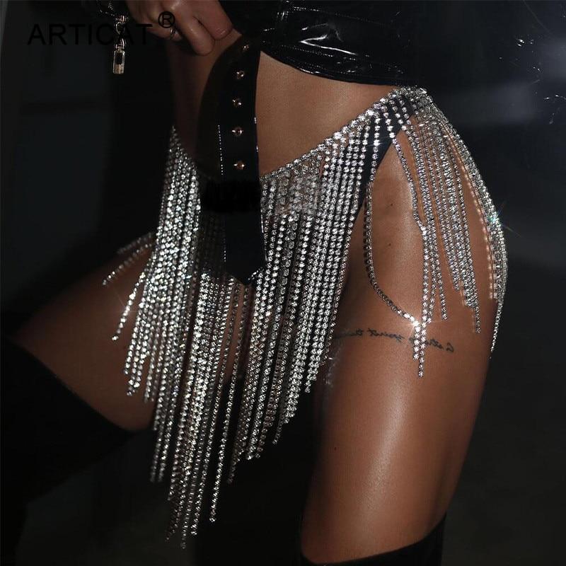 Nadler ARTICAT 最も安い 金属結晶ダイヤモンドタッセルミニスカートグリッター女性ダイヤモンドチェーンハイウエストスパンコールスカート夏高級パーティー衣装