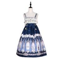 2018 Japanese Cute Soft Sister Kawaii Print Women Dress Spaghetti Strap Fresh New Design Lolita Style Vintage Princess Dress