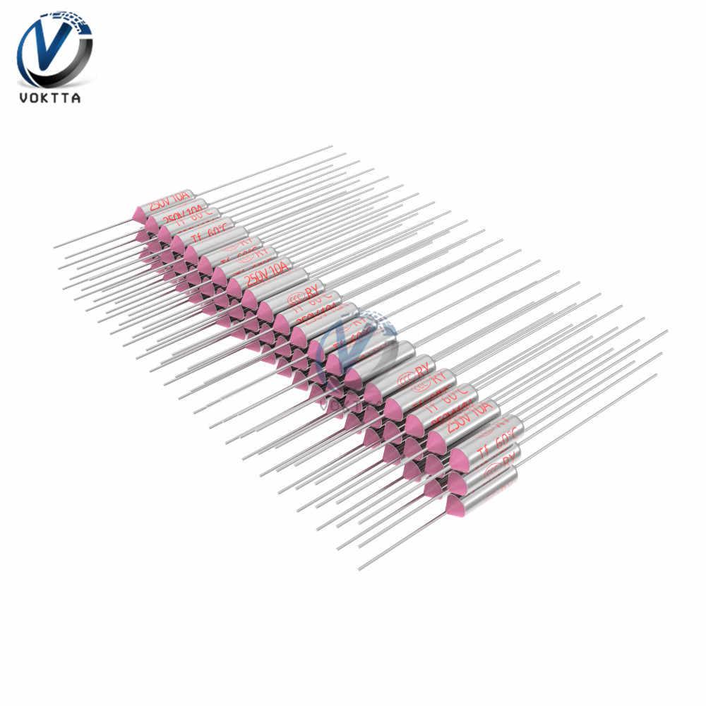 10 Uds fusible térmico kit RY/TF música de 10A 250V 60-280 ℃ temperatura 60℃ 65℃ 90℃ 120℃ 121℃ 130℃ 133℃ 142℃ 167℃ 175