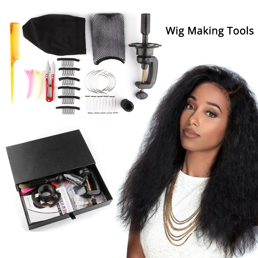 Wig Kit For Making Human Hair Wigs Comb/clips/mannequin Head Stand/dome Cap For Making Wig/curved Needle/wig Thread/hair Brush Hairnets