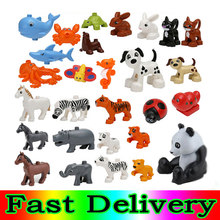 1Pcs Dog Rabbit Horse lion Ocean world legoINGly Duplos Animal Figures Big Building Block Bricks Sets boys toys for children(China)