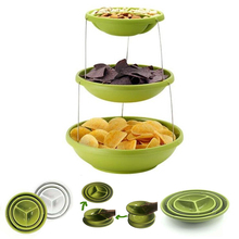 Three-layer Silicone Folding Bowl Fruit Plate Cake Pan Bracket Multi-functional Living Room Tray