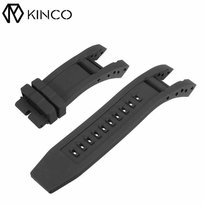 KINCO Soft Rubber Black Length 135/80mm Bands Wristbands Strap for Invicta Subaqua Noma IV Noma 4, 32mm lugs Smart Watches