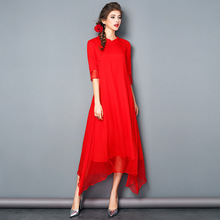 Red Color  Real Mulberry Silk Large Size Women Summer Long Dress Chinese Style Ankle-Length Dress XXXL XXL XL L M