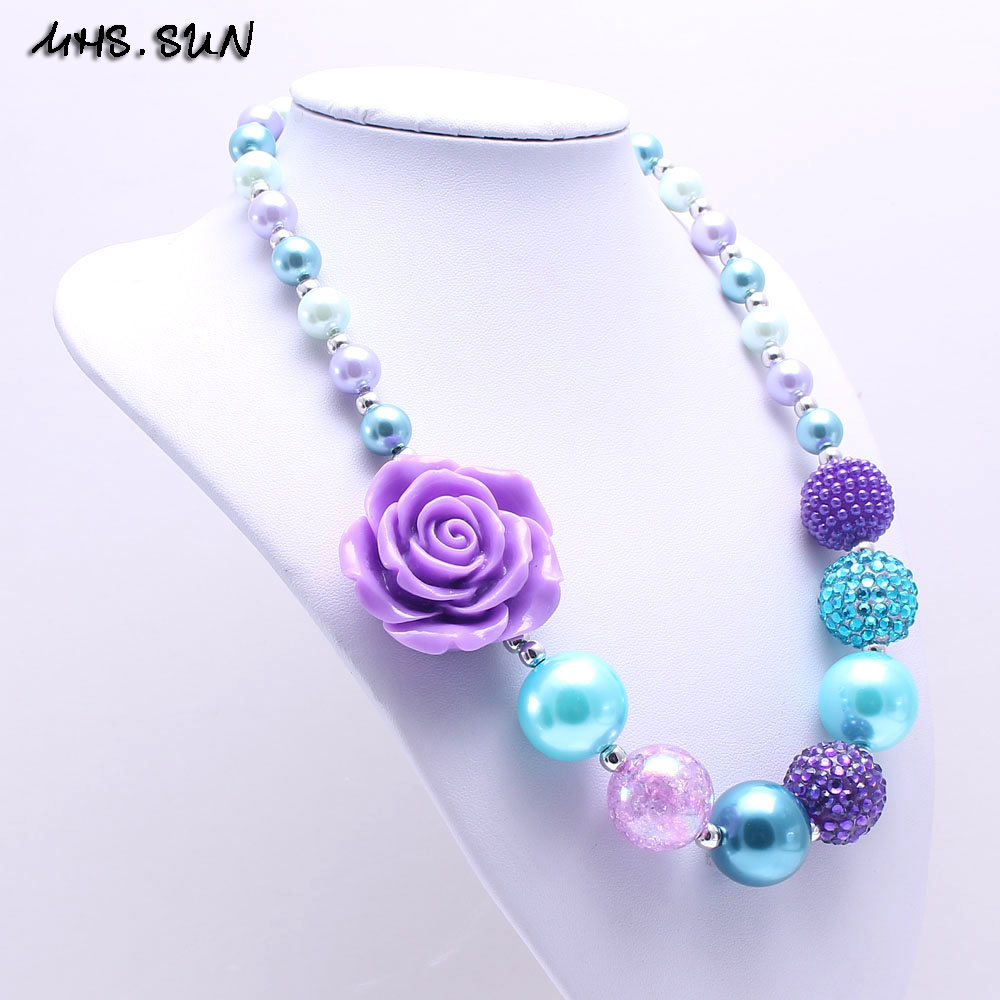 MSH.SUN Flower-collar de cuentas de hilo de color morado grueso + azul, el mejor regalo para niños/encantos para chicas, joyería BN174