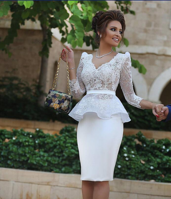 White 2019 Elegant Cocktail Dresses Sheath V-neck 3/4 Sleeves Satin Lace Elegant Short Homecoming Dresses