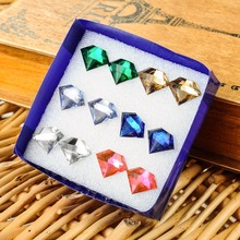 hot sale 6 pairs/pack set Imitation diamonds pattern stud earrings for women resin geometry Multicolor jewelry earing girl gift