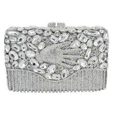 Neueste Mode Luxus Abendtasche Palm Designer Diamant Kristall Kupplungen Geldbörse für Prom Tasche Gold Braut Handtasche SC446