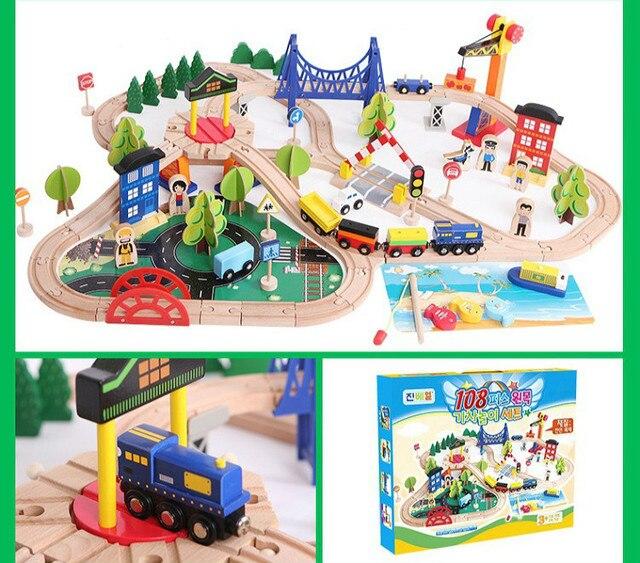 108Pcs Korean Track Accessories Children's Educational Puzzle Handmade Assemble Toy Wooden Train Track Diecast Electric Trains