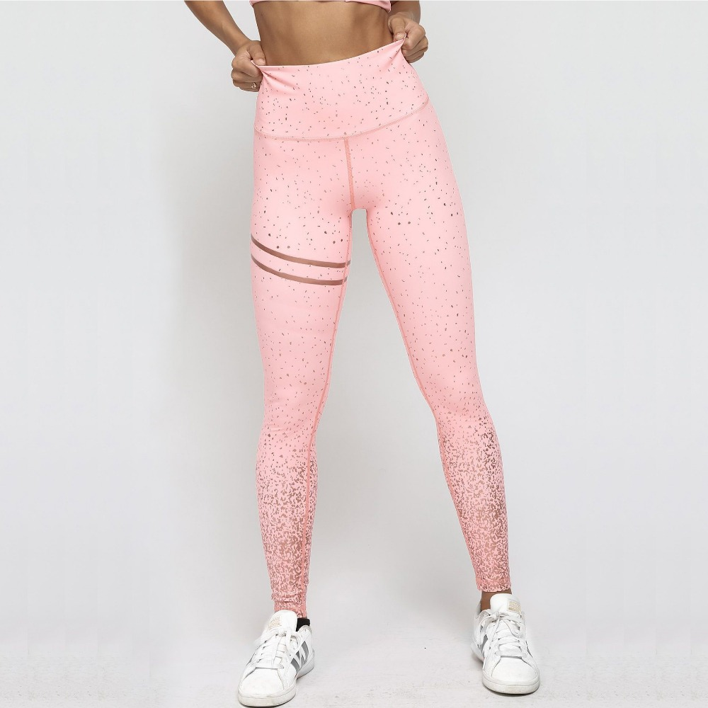 New Hotsale Women Pink Rosed Gold Print   Leggings   High Waist Women Sportwear Clothes Black Fitness Leggins