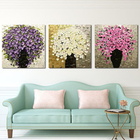 Unframed Handpainted Palette Knife Painting Colorful Flower Modern Picture Wann Art Canvas Painting For Living Room
