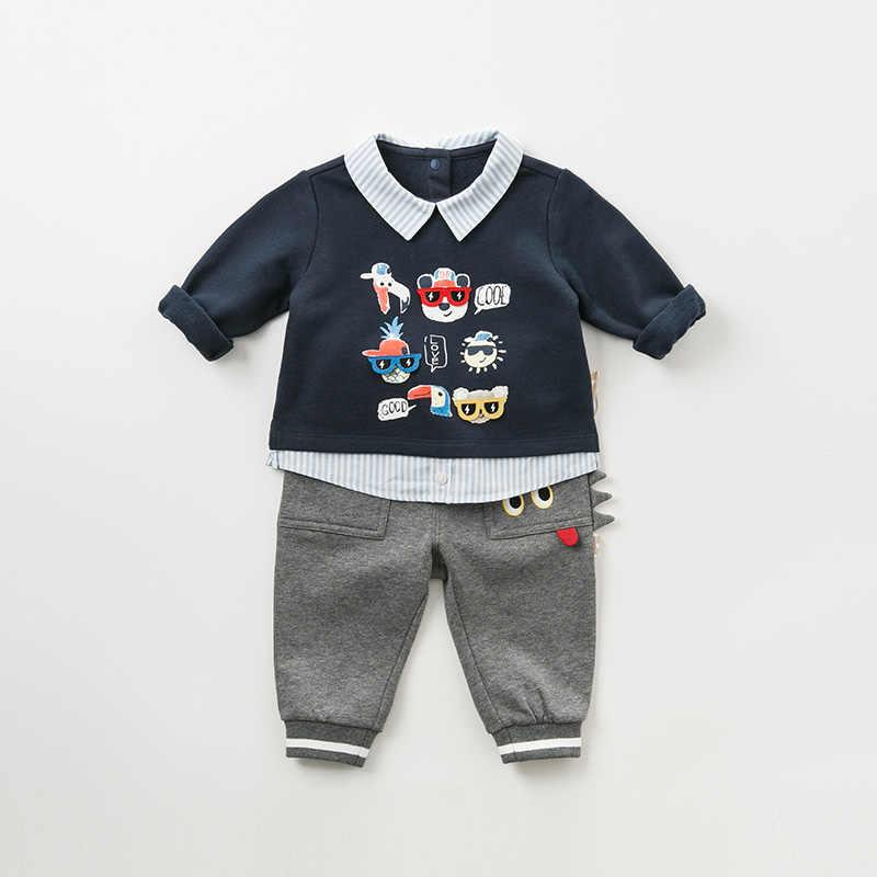 DBJ11003 ديف بيلا الخريف طفل الفتيان طباعة البلوز الأطفال طويلة الأكمام تي شيرت الرضع طفل عالية الجودة قمم القطن المحملات