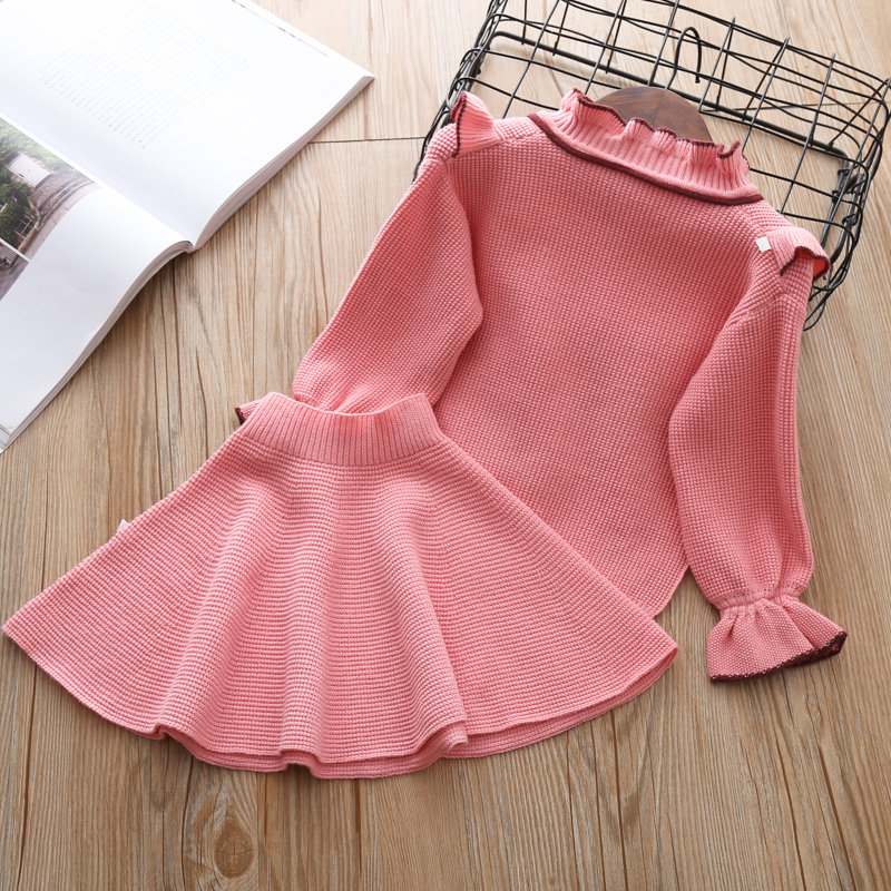 1ecad36bdeba baby girls sweater clothing set knitted clothes suit shirt + skirt 2 ...