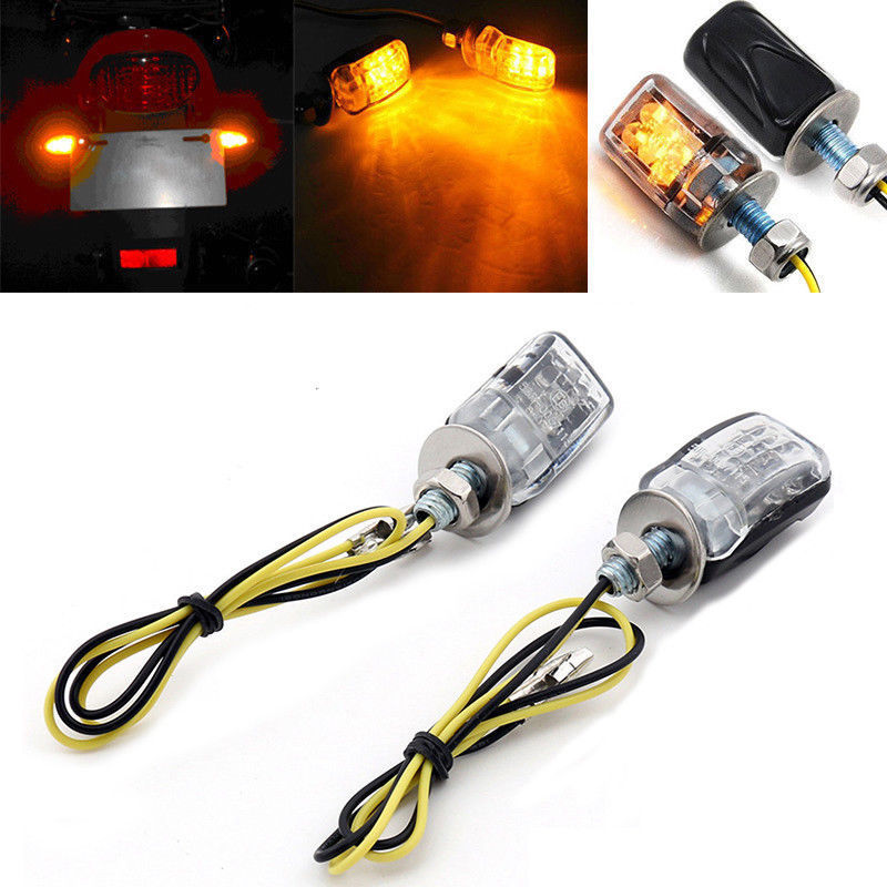Universal 2PCS LED Micro Mini Tiny Small Indicators Turn Signals For Motorcycle Motobike