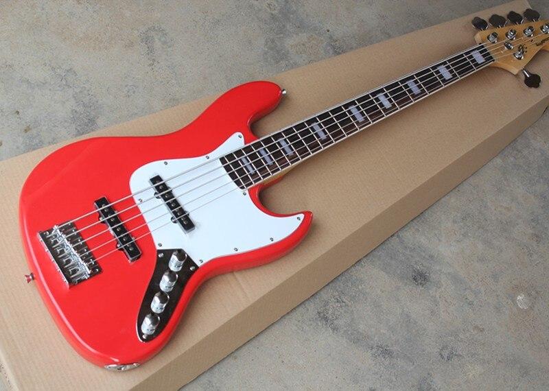 Rouge 5-Cordes Basse Électrique Guitare avec Blanc Pickguard, Offre Personnalisée