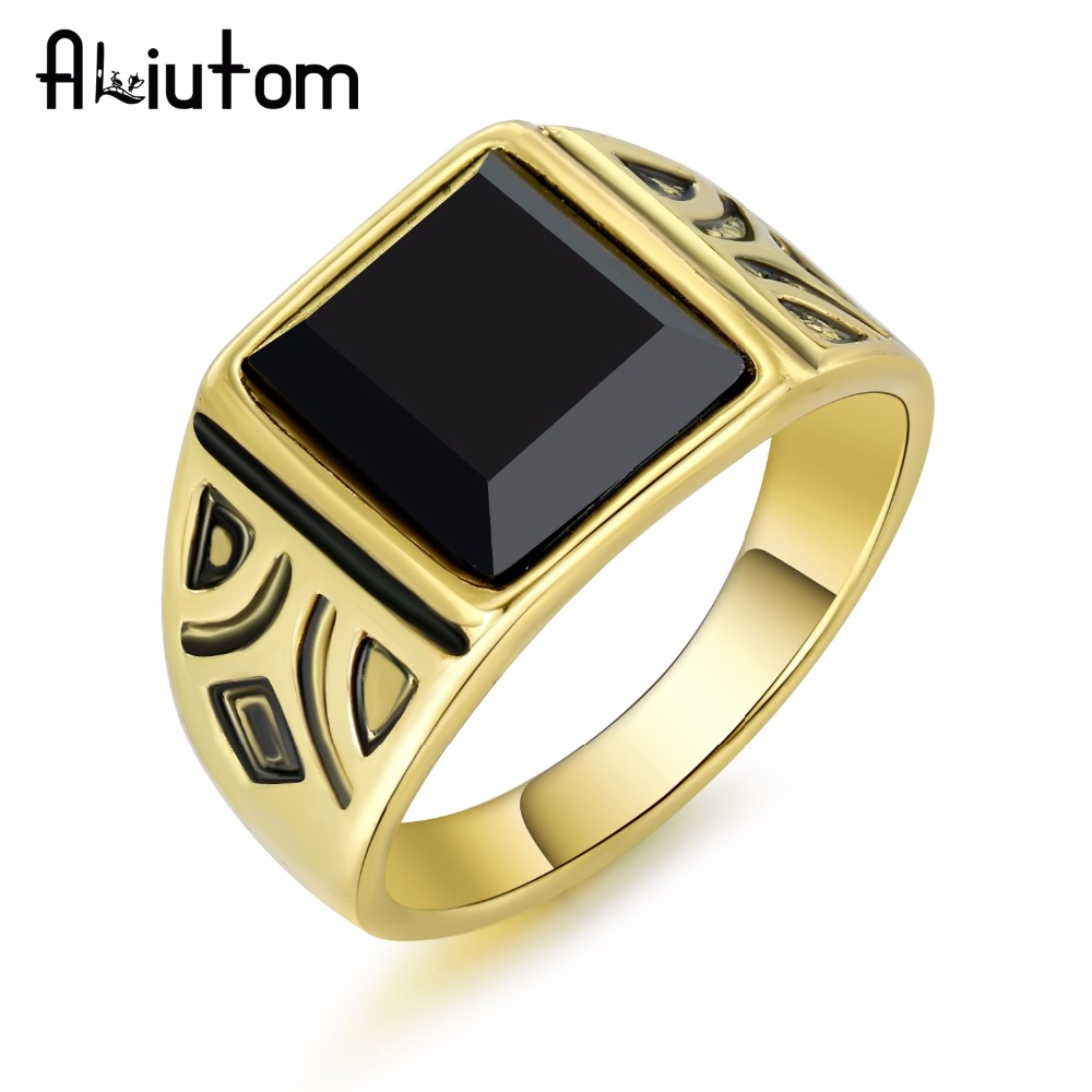 ALIUTOM 2018 Dubai Fashion Gold Color Ring Men Wedding Paty Accessories Punk Black Ring Vintage Jewelry Wholesale