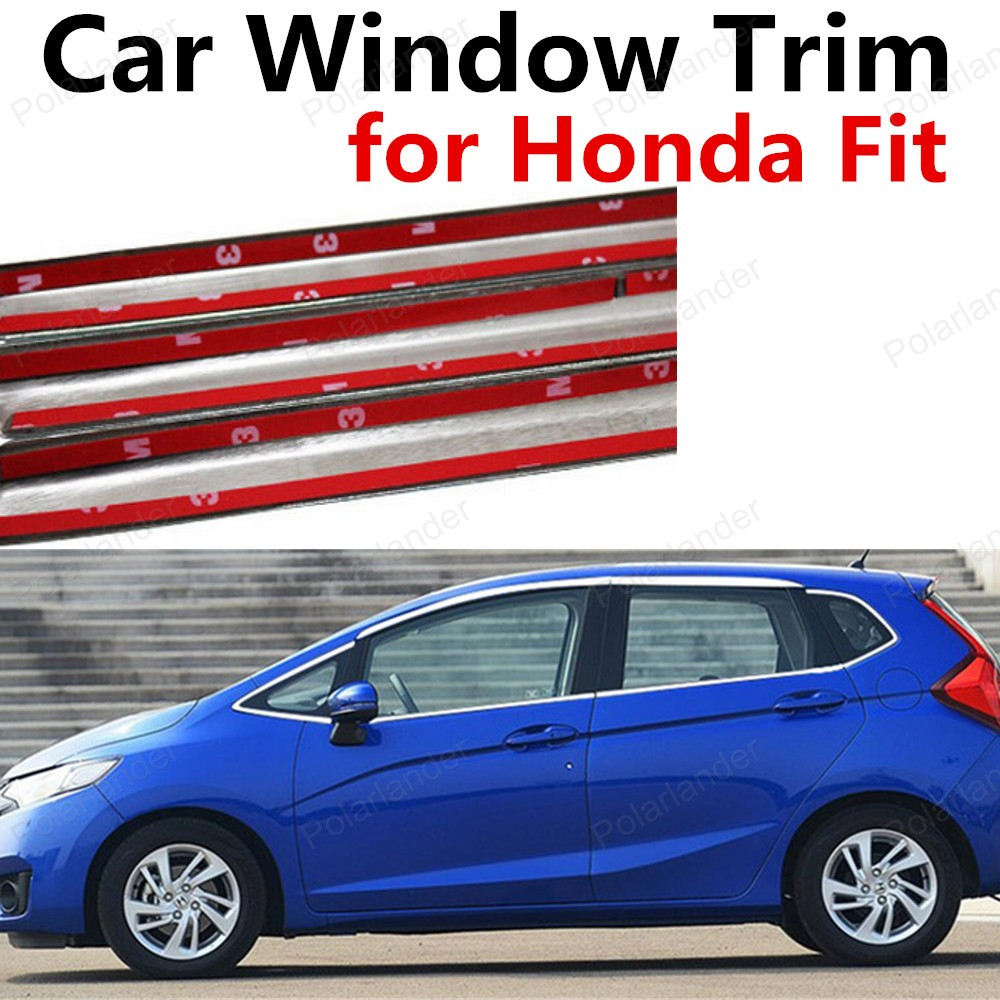new! bright silver Car Styling Decoration Strips Stainless Steel Car Window Trim For Honda Fit