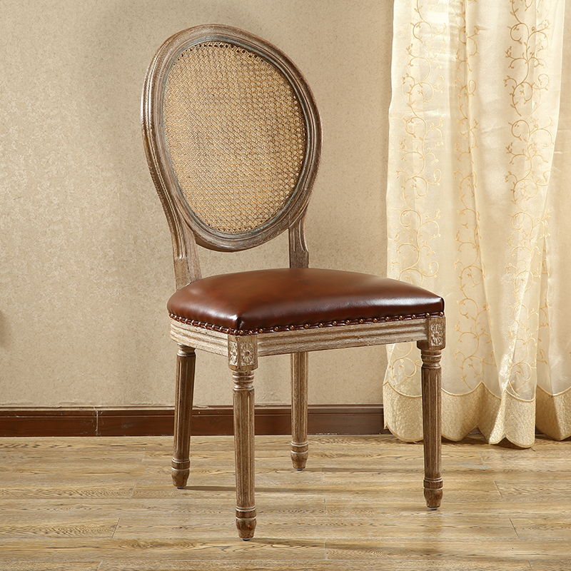Amerian Style Dining Chair Wood Legs Antique Finish Leather Upholstery Rattan Back Dinining Room Furniture Vintage French Chair mid century presidential solid oak wood dining chair armchair upholstery seat dining room furniture modern arm chair for home