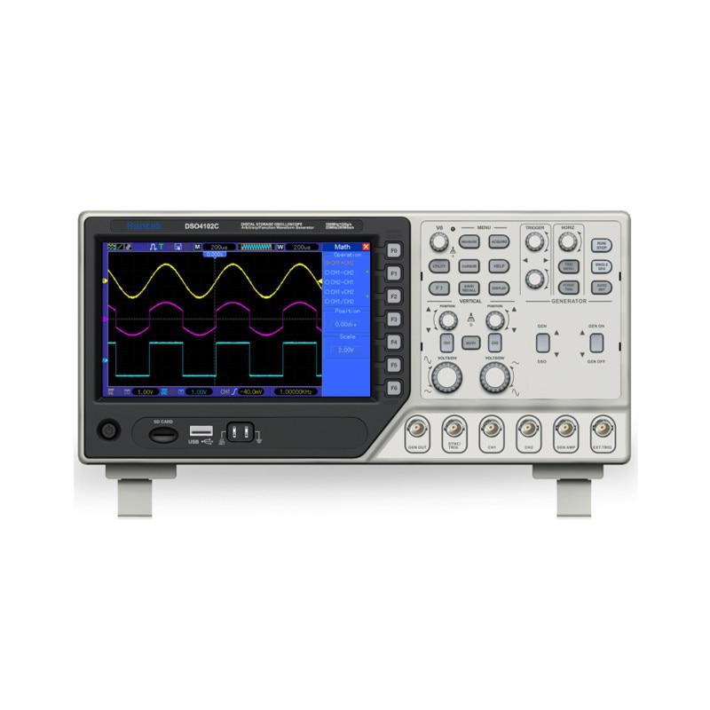 DSO4202C Hantek Oscilloscopio a memoria Digitale 2 Canali 200 MHz, 1 Canali Arbitrarie/Funzione Generatore di Forme D'onda 1GS/s 7 ''Tft Lcd