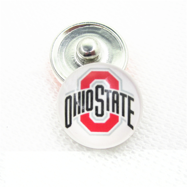 10pcs/lot Ohio State Snap Buttons for 18mm Sports Teams Snap Bracelet&Bangles DIY Snap Jewelry Charms