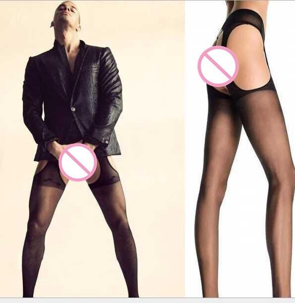 Men SEXY Transparent Stockings Sexy Men Sheer See Through Mens Pantyhose Open Tights Free Size Black