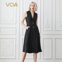 VOA черный жилет тяжелый шелк Блейзер Пальто Платье Осень длинный жилет Для женщин женский жилет kamizelka damska chaleco yelek chalecos F393