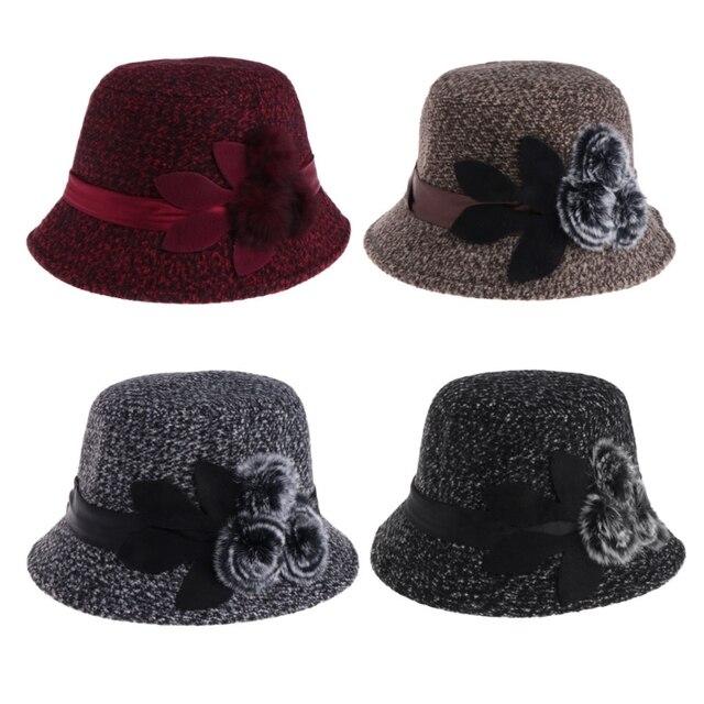 Senhoras elegantes Fedoras Flor Cap Chapéu Quente Mulheres Listrado Falso  De Lã Chapéus Bonés 87c70432a8a