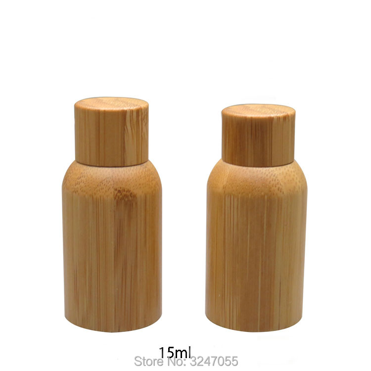 15ML 20pcs lot High Quality Glass Empty Medicine Liquid Refillable Bottle DIY Bamboo Cosmetic Essential Oil
